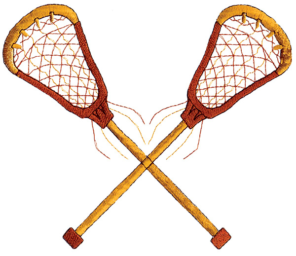 600x519 Sports Embroidery Design Crossed Lacrosse Sticks From Grand Slam