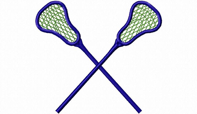 750x436 Crossed Lacrosse Sticks Machine Embroidery Design