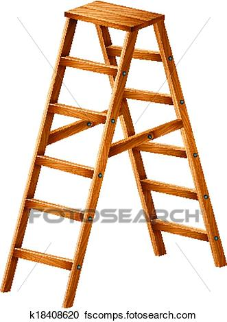 331x470 Clipart Of A Wooden Ladder K18408620