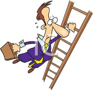 300x291 Art Image A Businessman Clinging To A Ladder