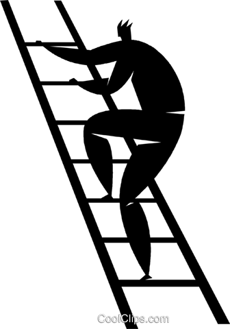 336x480 Person Climbing A Ladder Royalty Free Vector Clip Art Illustration