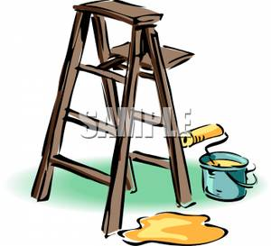 300x273 Bucket Of Paint At The Foot Of A Ladder Clipart Image