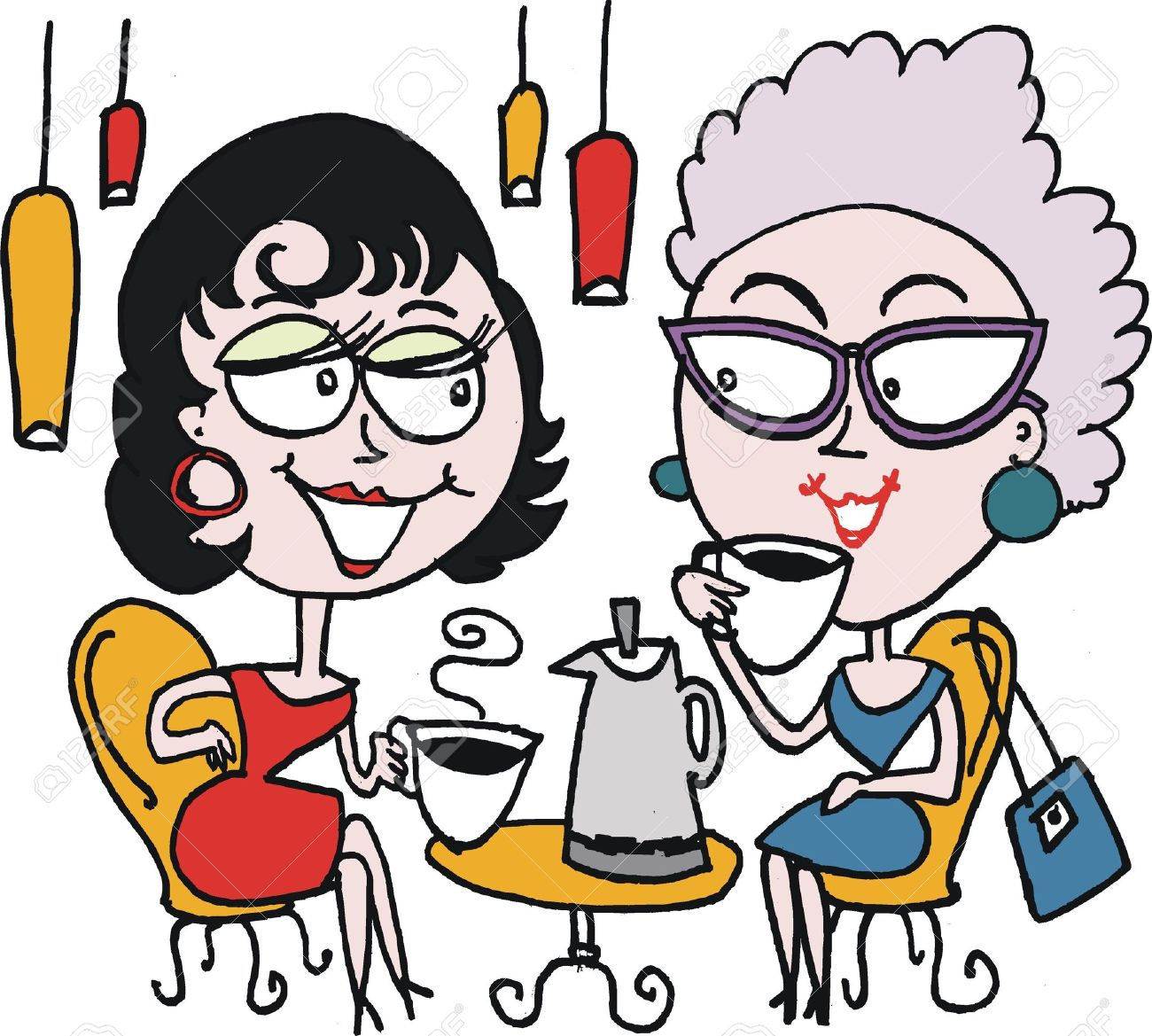 1300x1169 Cartoon Of Two Woman Drinking Coffee Royalty Free Cliparts