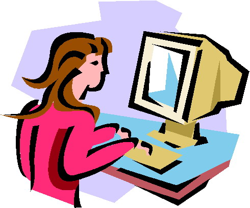 490x407 Lady On Computer Clipart