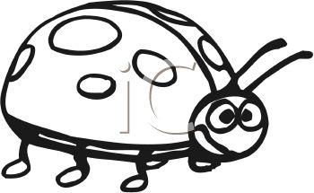 350x215 Cartoon Ladybug In Black And White