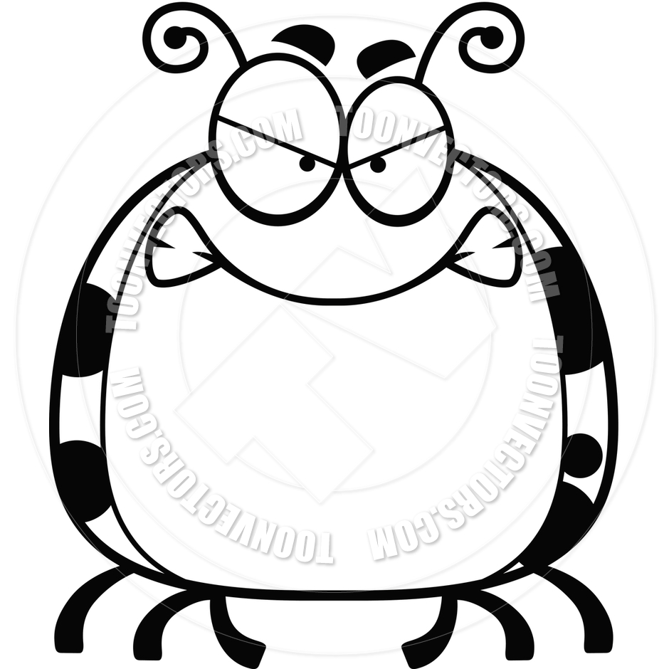 940x940 Cartoon Little Ladybug Angry (Black And White Line Art) By Cory