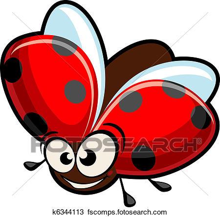 450x445 Clipart Of Funny Cartoon Ladybug K6344113