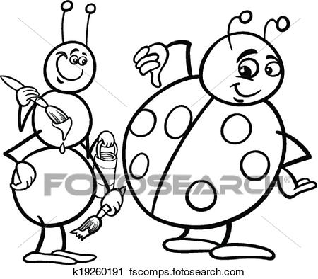 450x394 Clipart Of Ant And Ladybug Coloring Page K19260191