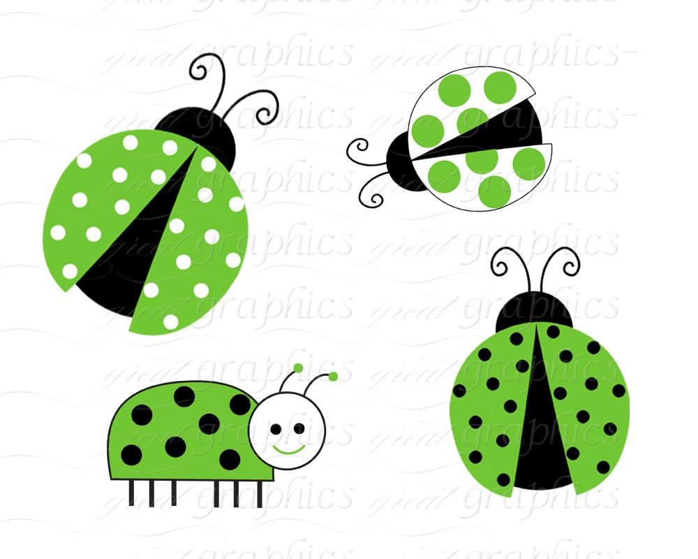 1000x800 Green Lady Bug Clip Art Ladybug Digital Clip Art Digital Paper