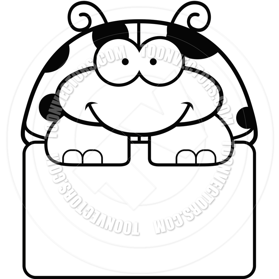940x940 Cartoon Little Ladybug Sign (Black And White Line Art) By Cory