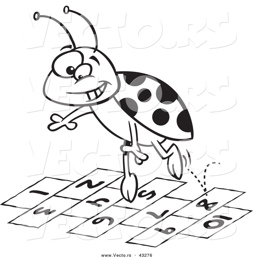 1024x1044 Vector Of A Cartoon Ladybug Jumping Over Hopscotch Numbers