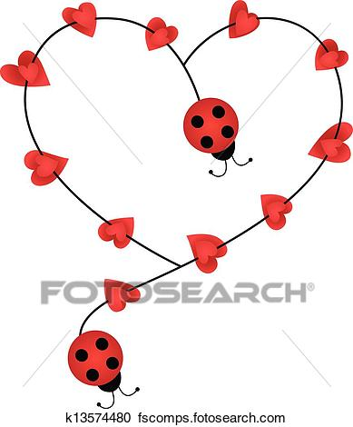 389x470 Clipart Of Ladybugs Forming Heart Shape K13574480