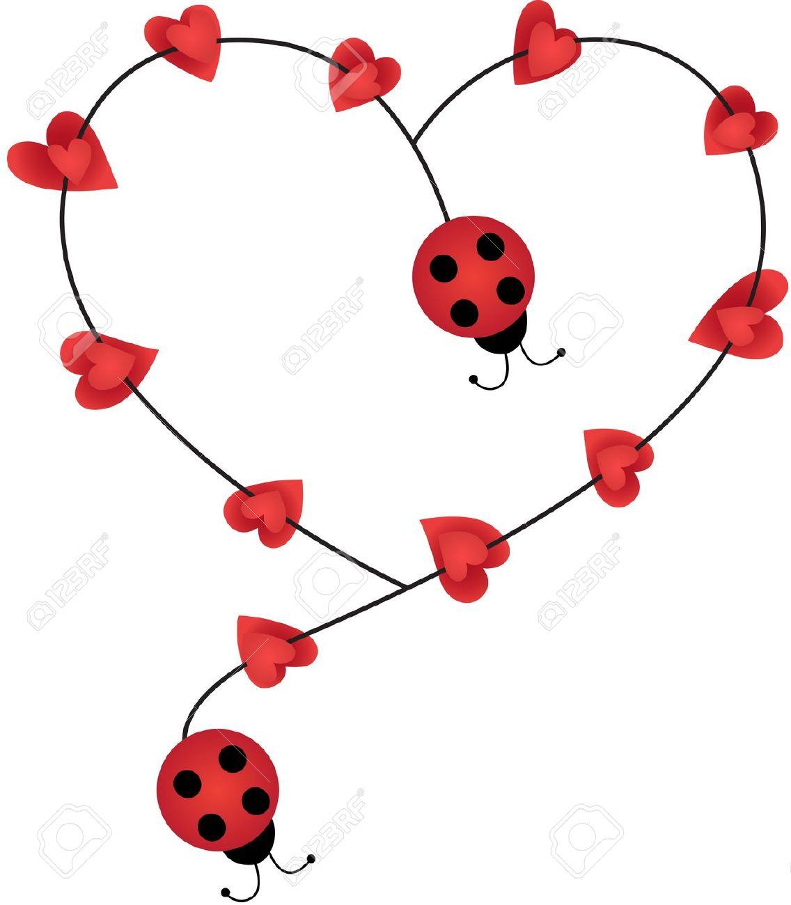 1136x1300 Lady Bug Hearts Clipart