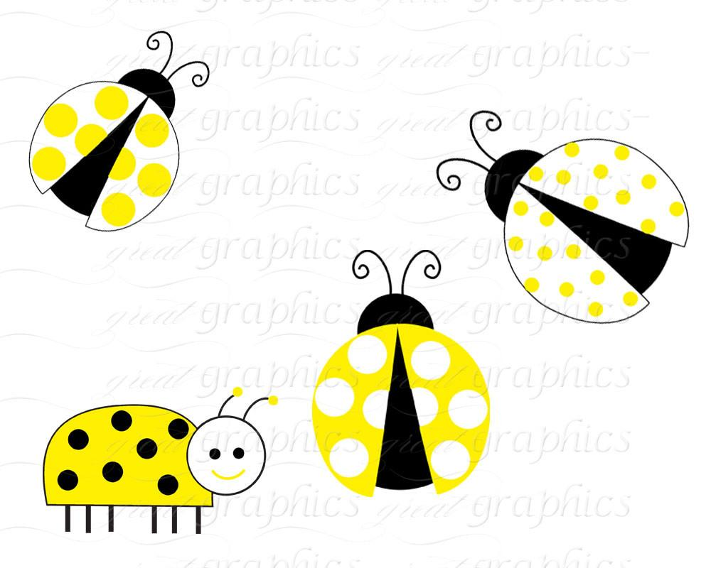 1000x800 Yellow Lady Bug Clip Art Ladybug Digital Clip Art Digital Paper