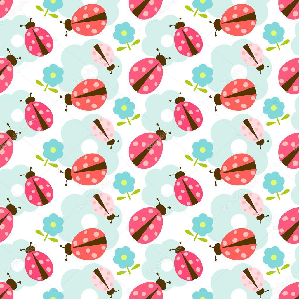 1024x1024 Seamless Ladybug Wallpaper Pattern Stock Vector Lilalove