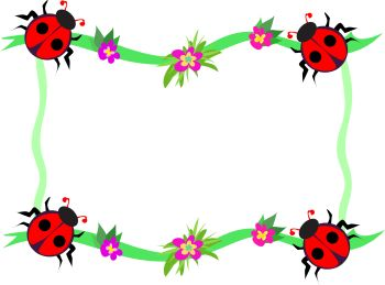 350x259 Whimsical Ladybug Frame Page Decoration Royalty Free Clipart Image