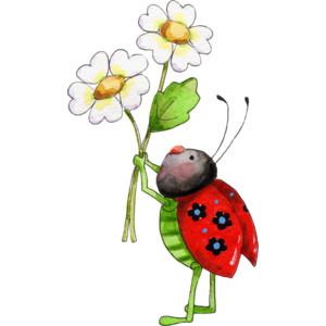 300x300 Illustrated Ladybug Art Cartoon Ladybug Clipart An Illustrated