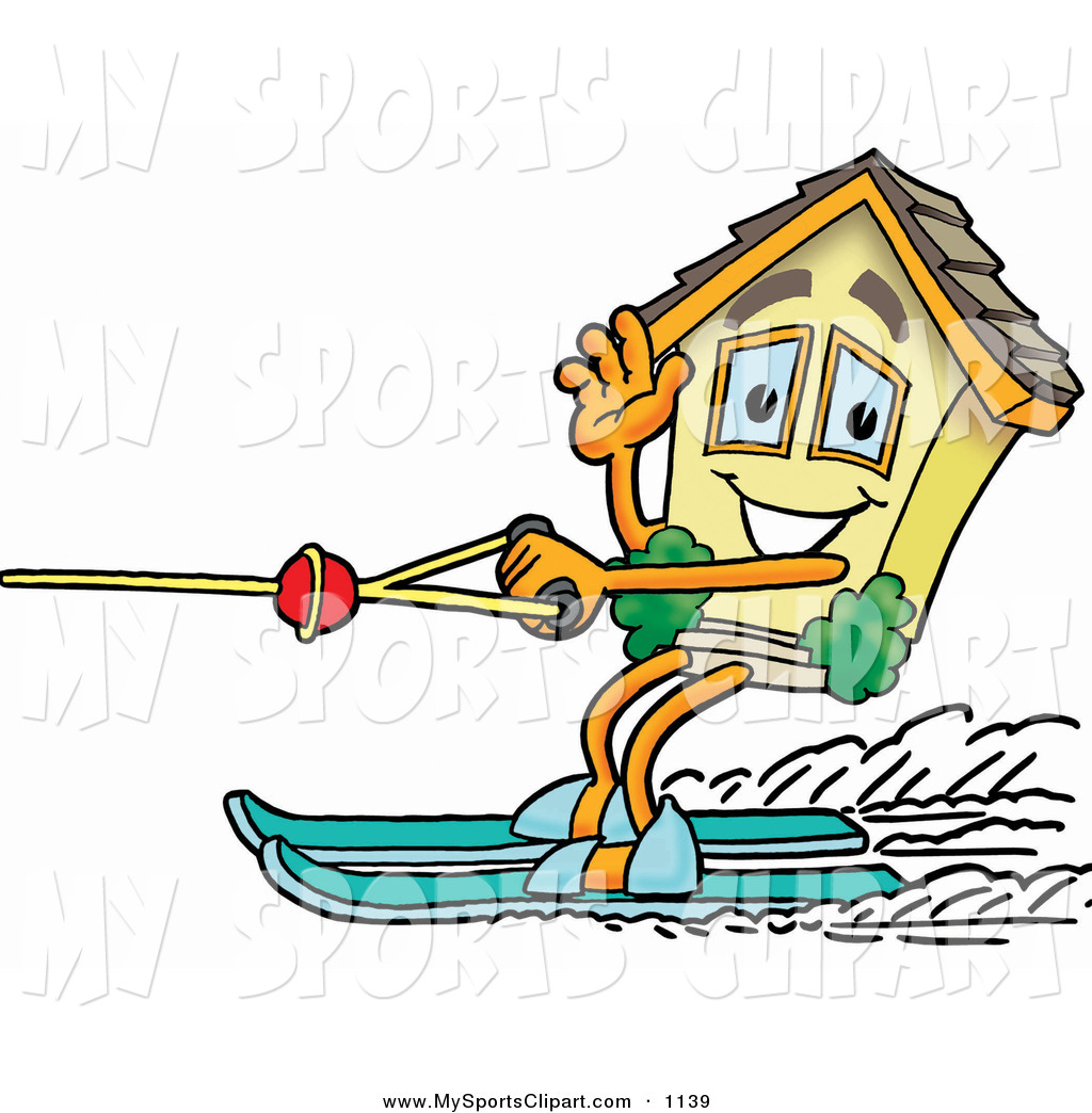 1024x1044 Sports Clip Art of a House Mascot Cartoon Character Waving While