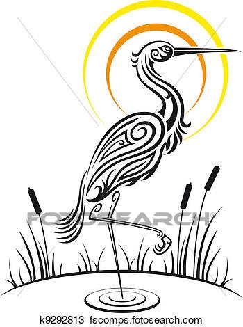 350x470 Clipart Of Heron Bird On The Lake K9292813