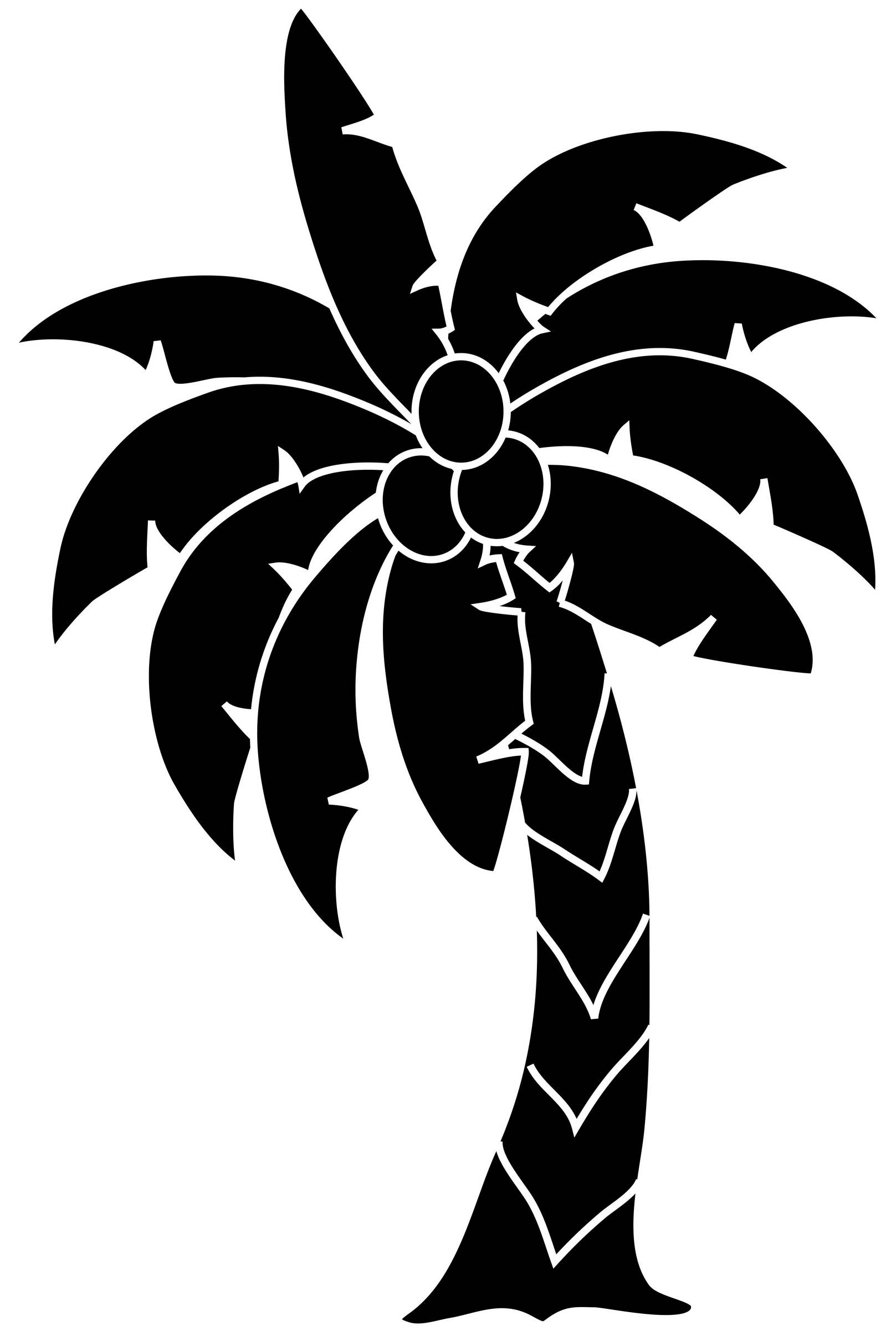 1617x2400 Palm tree clipart tropical black and white