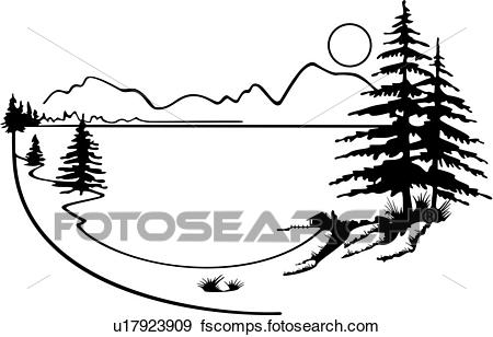 450x308 Clip Art of , illustrated panels, wilderness, country, forest