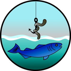300x300 Free Fishing Clip Art Image Fish Hook With A Nightcrawler Or Worm