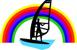 300x195 Windsurfing Clipart Image