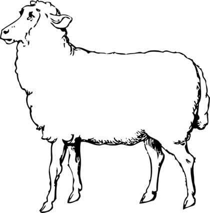 420x425 Lamb Clipart Black And White