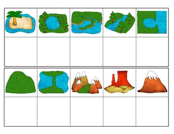 350x270 Common Landforms (Clipart Version) Mini Matching Cards Tpt