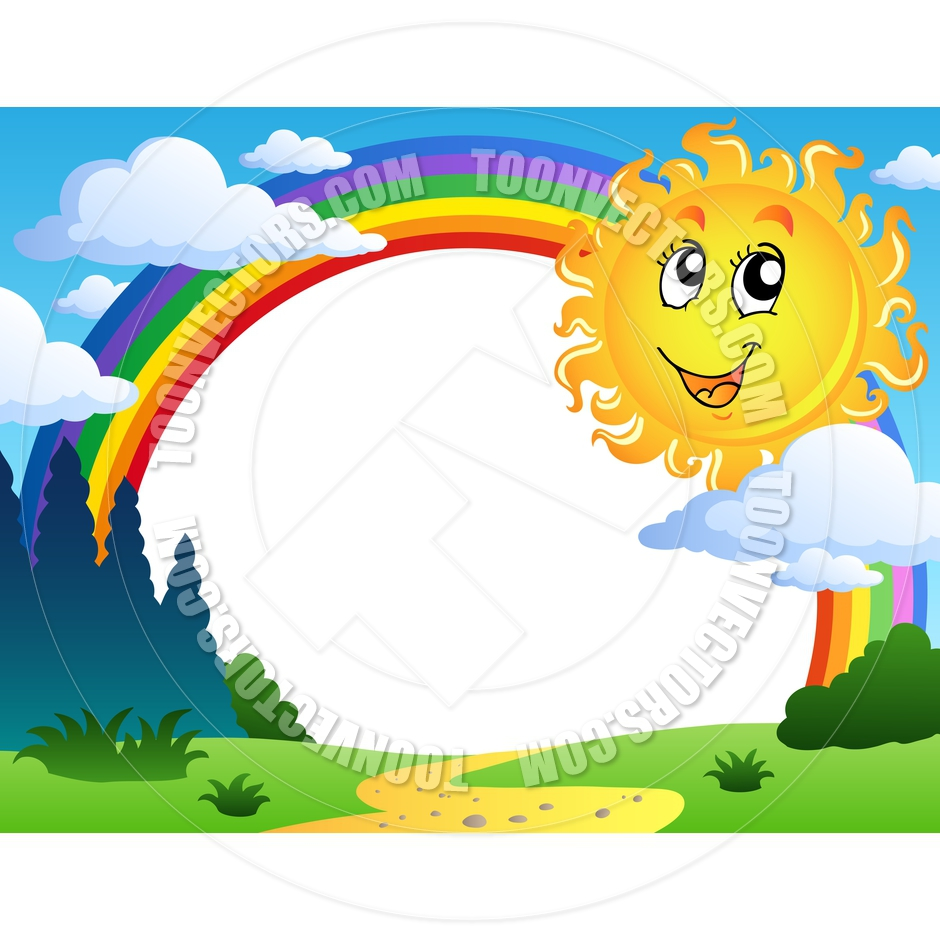 940x940 Cartoon Landscape With Rainbow And Sun By Clairev Toon Vectors