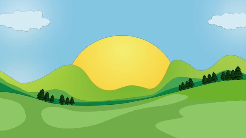 852x480 Cartoon Nature Landscape Animation Loop. Colorful Cartoon Hills