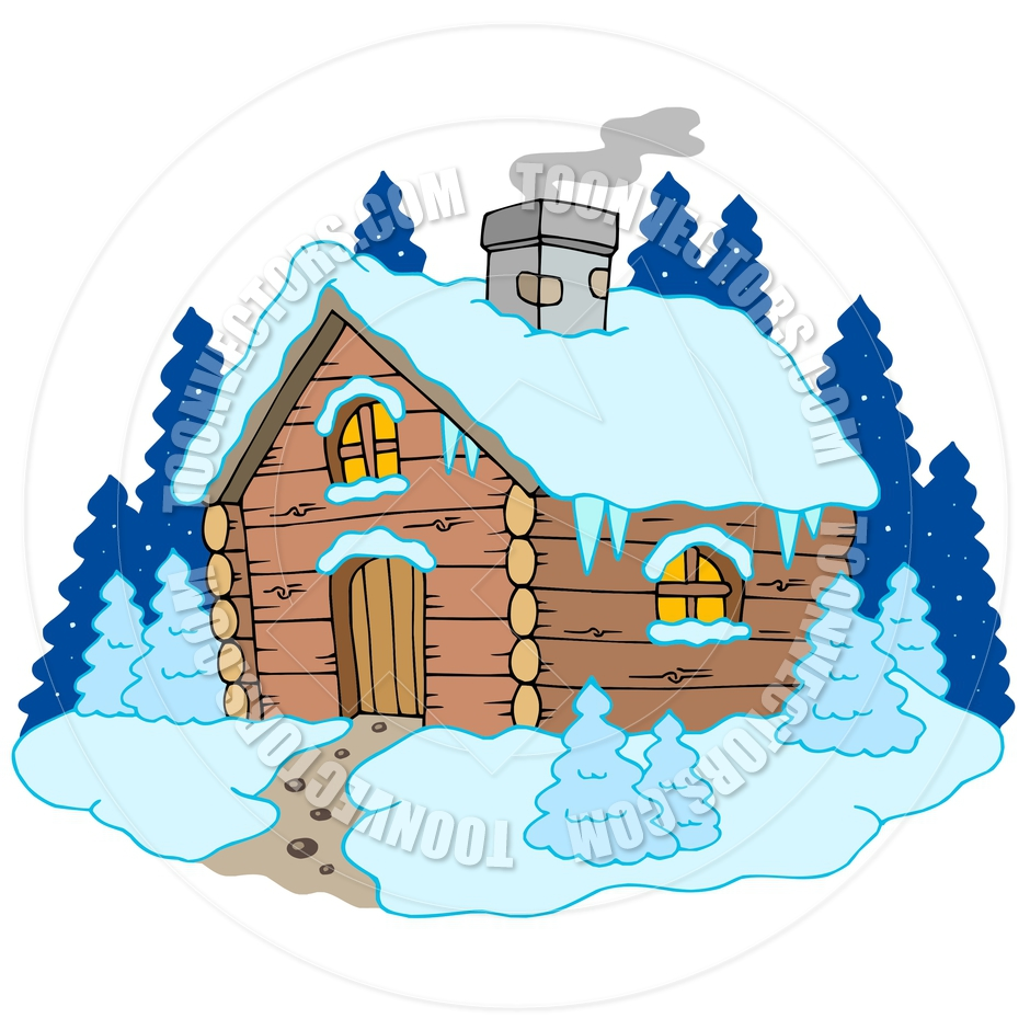940x940 Cartoon Wooden Cottage In Winter Landscape By Clairev Toon