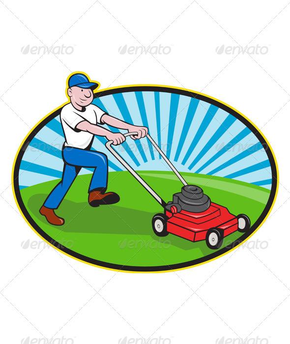 590x700 Lawn Mower Man Gardener Cartoon Lawn Mower, Lawn And Cartoon