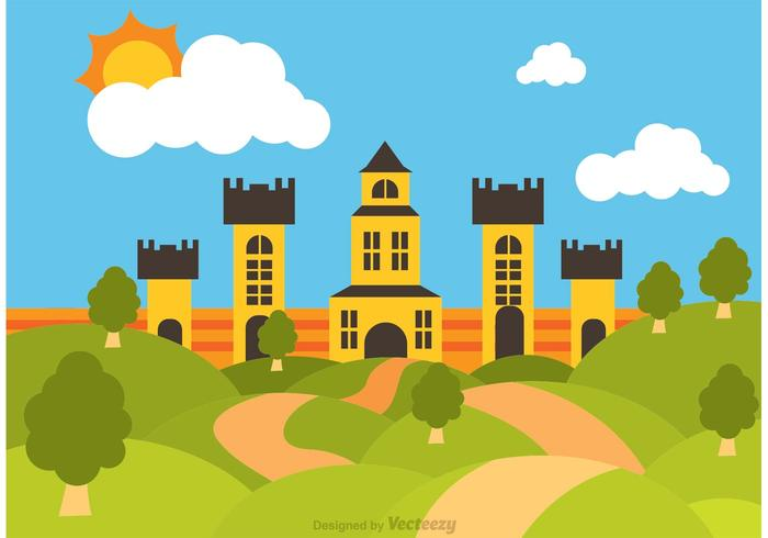 700x490 Rolling Hills Landscape With Big Castle Vector