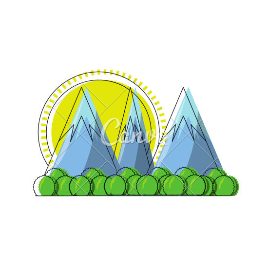 550x550 Cartoon Alps Landscape Vector