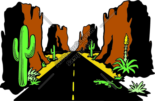 500x326 Arizona Hightway Desert Road Landscape Clipart And Vectorart Misc