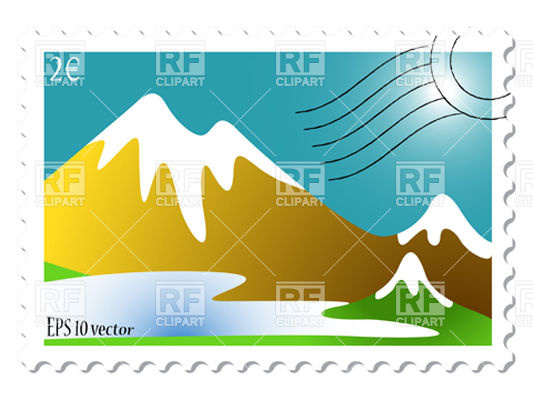 533x400 Postage Stamp With Snowy Mountain Landscape Royalty Free Vector