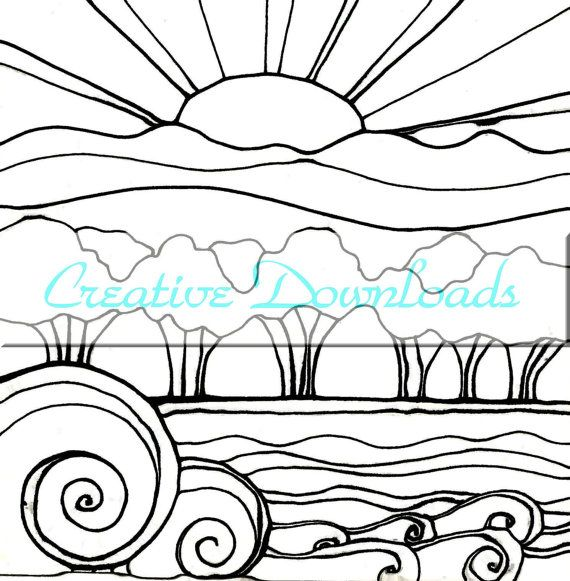 570x581 Coloring Pages Breathtaking Sunset Coloring Pages Landscape