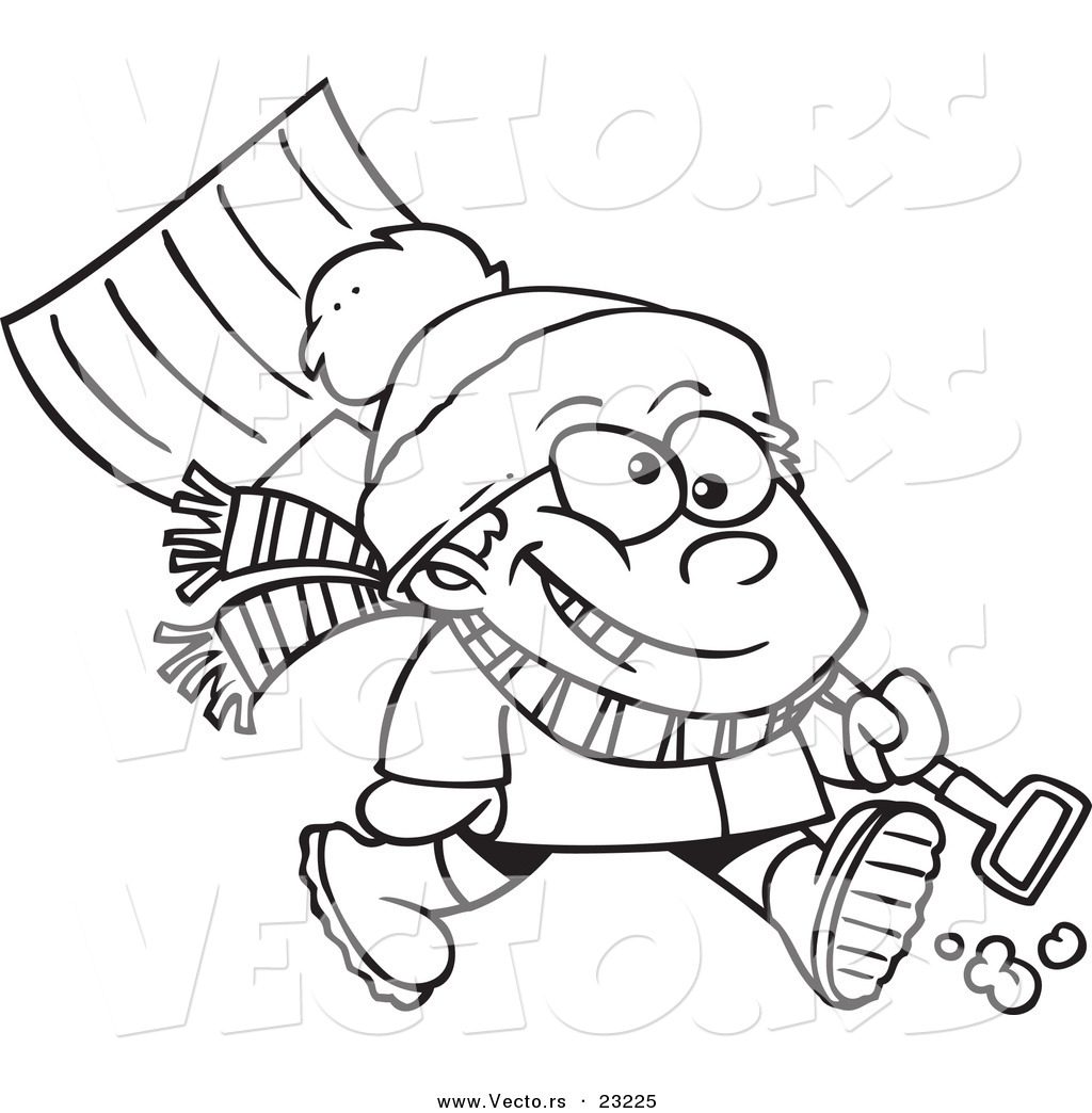 1024x1044 Vector Of A Cartoon Winter Boy Carrying A Snow Shovel