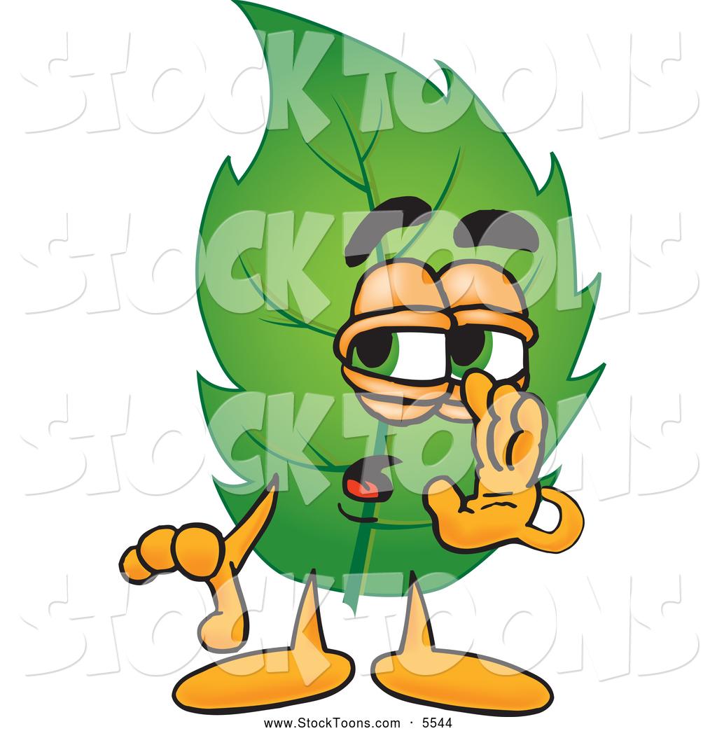 1024x1044 Stock Cartoon Of A Sneaky Leaf Mascot Cartoon Character Whispering