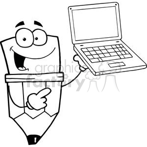 300x300 Royalty Free Pencil Cartoon Character Presents Laptop 379359