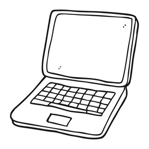 300x300 Freehand Drawn Black And White Cartoon Laptop Computer With Error