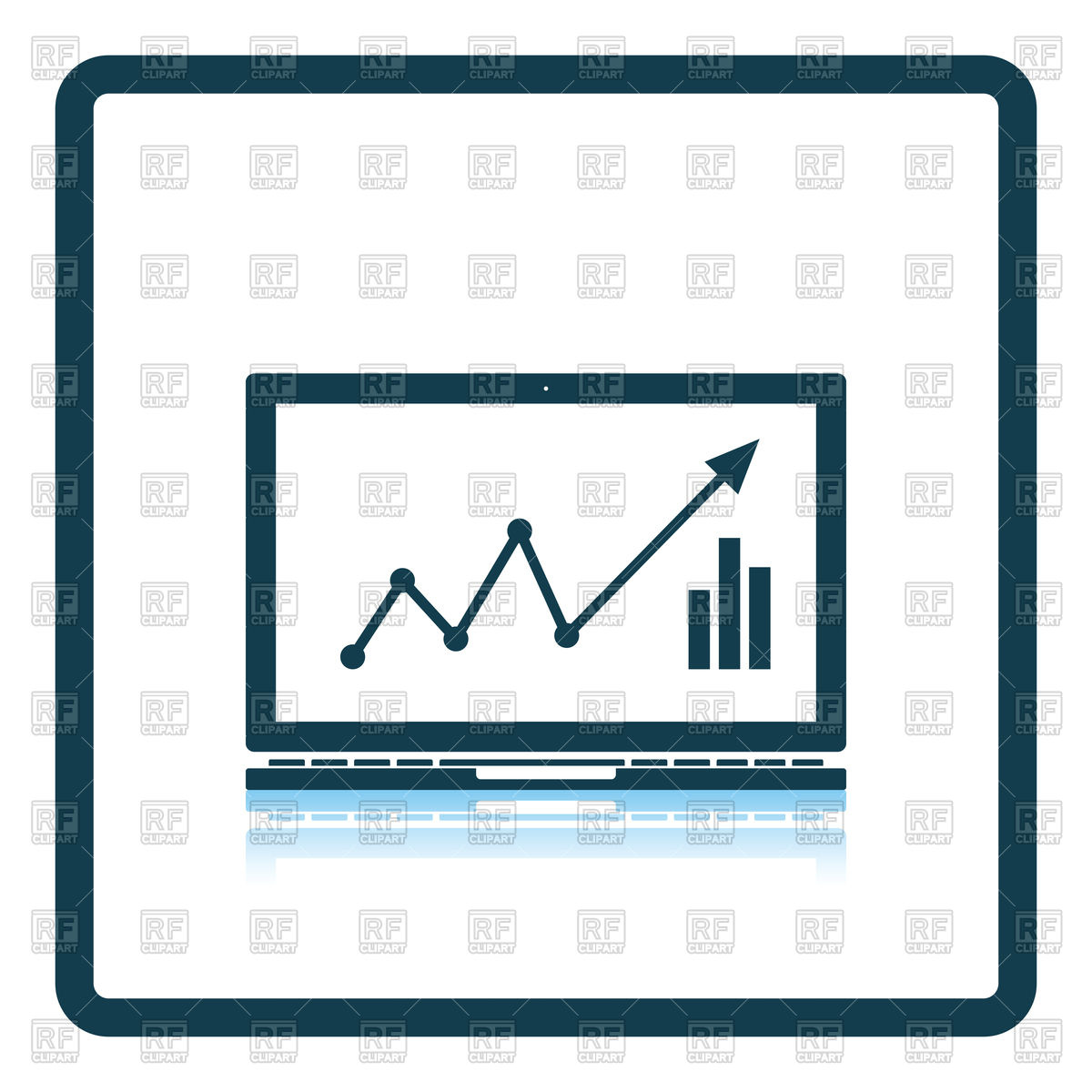 1200x1200 Icon Of Laptop With Chart Royalty Free Vector Clip Art Image