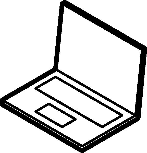 576x599 Laptop Outline Clip Art Free Vector 4vector