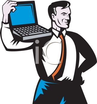 326x350 Strong Businessman Holding A Laptop On His Shoulder