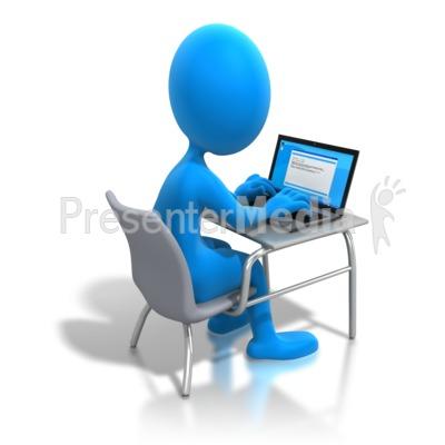 400x400 Stick Figure Working Laptop Desk Powerpoint Clip Art Technology