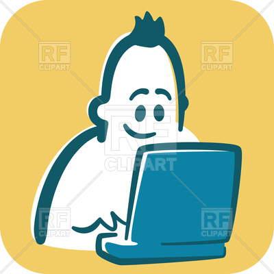 400x400 Cartoon Man (Blogger) Typing On Laptop And Smiling Royalty Free