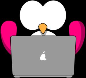 299x273 Pink Bird With Laptop Clip Art