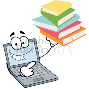 300x300 Royalty Free Laptop Cartoon Character Displays Pile Of Books