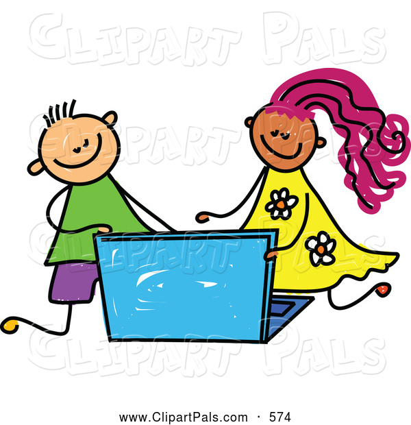 600x620 Pal Clipart Of A Smiling Boy And Girl Using A Laptop By Prawny
